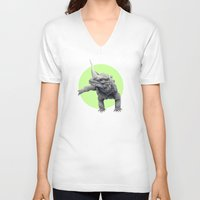 lizard V-neck T-shirts featuring Lizard by Stephanie Sekula