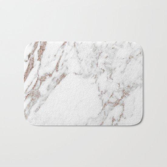 Rose gold shimmer vein marble Bath Mat