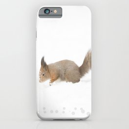 Little squirrel sitting in the snow #decor #society6 #buyart iPhone Case