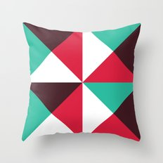 Red, turquoise, black triangle pattern Throw Pillow