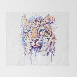 Watercolor Leopard Head Throw Blanket
