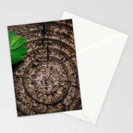 Green leaf Brown wood Stationery Cards