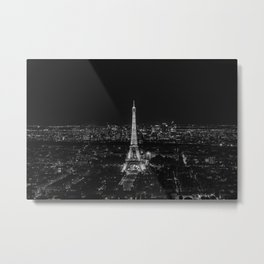 Eiffel Tower Paris City Night Metal Print