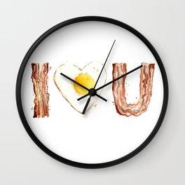 Bacon Love I Heart You Breakfast Food Wall Clock