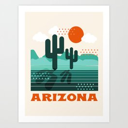 Arizona - retro 70s 1970's sun desert southwest usa throwback minimal design Art Print