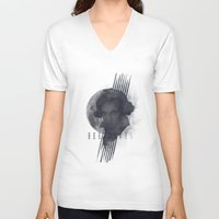 beethoven V-neck T-shirts featuring Beethoven by Josh Slee Design