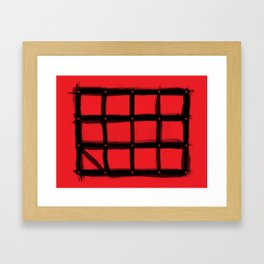 DOTTED GRID WITH BRUSH STROKES RED Framed Art Print