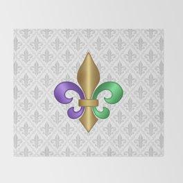 Purple Green and Gold Fleur-de-Lis on Gray Pattern Throw Blanket