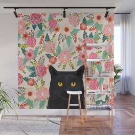 Black Cat cat breed floral pattern background pet gifts cats kitten mom gifts Wall Mural