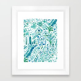 IDEAL BEACH HOUSE Aqua Watercolor Print Framed Art Print