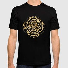Elegant romantic gold roses pattern image T-shirt