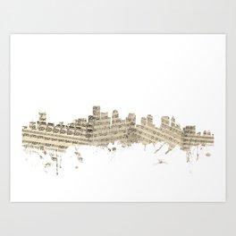 Boston Massachusetts Skyline Sheet Music Cityscape Art Print
