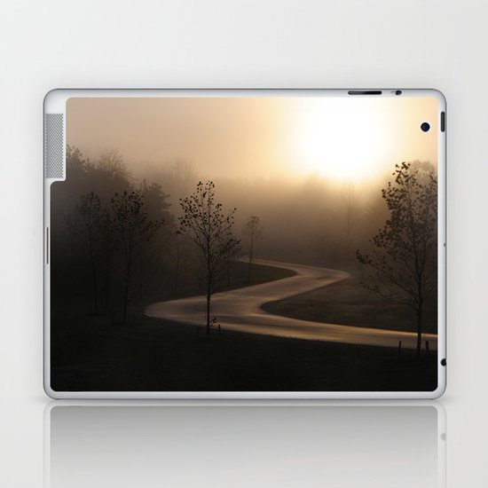 The long and winding misty and moody road Laptop & iPad Skin