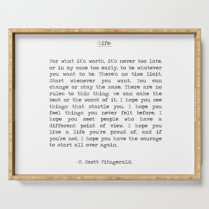 Life quote F. Scott Fitzgerald Serving Tray