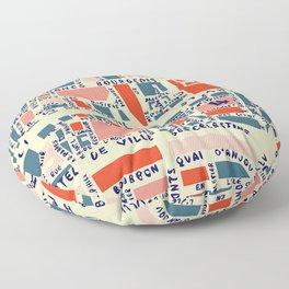 paris map blue Floor Pillow
