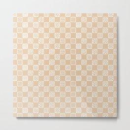 Blush peach white hand painted geometric squares Metal Print