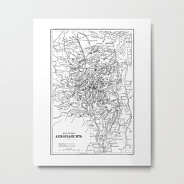 Adirondack Mountains Map Metal Print