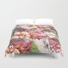 Animal flowers abstract Duvet Cover