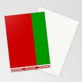 flag of belarus-belarusian,Minsk,Homyel,russia,snow,cold,chess,bear,rus,wheat,europe,easthern europe Stationery Cards