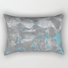 Blue and Gray Marble Rectangular Pillow