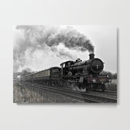 Steam locomotive in motion Metal Print
