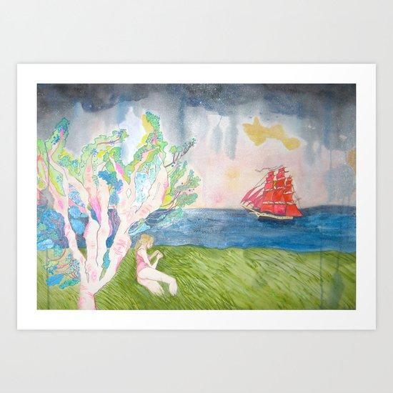 Contemplating Wooden Ships Art Print