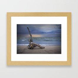 Sunrise on the Beach with Driftwood at Oscoda Michigan Framed Art Print