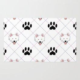 American Eskimo Paw Print Pattern Rug