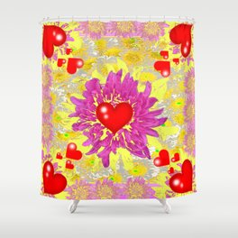 Red Hearts Valentines & Pink Flowers Art Patterns Shower Curtain