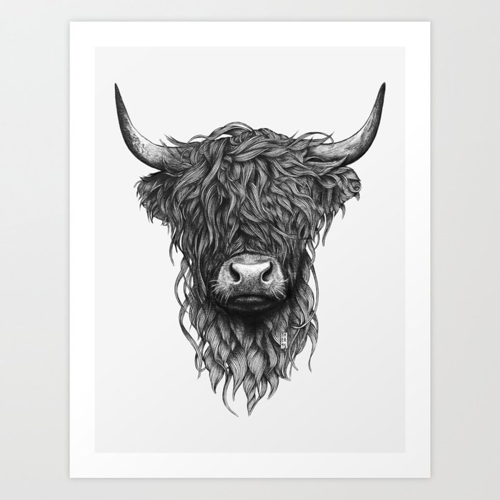 Highland cow art print by theanordal society6 for Cow painting print