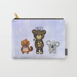 Bear Platypus and Koala Illustration on Purple Carry-All Pouch