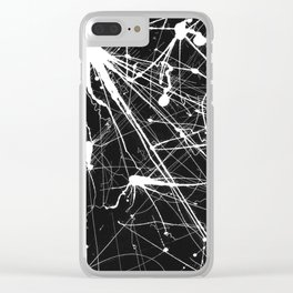 Abstract Ink (White on Black) Clear iPhone Case