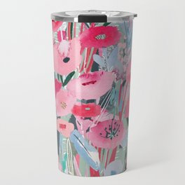 Pink and Blue Field of Flowers Travel Mug