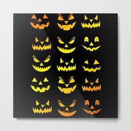 Halloween Scary Pumpkin Faces Metal Print