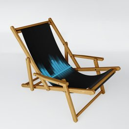 Cool Blue Graphic Equalizer Music on black Sling Chair