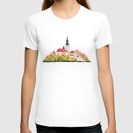 Slovenia Bled Lake pilgrimage church T-shirt