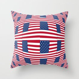 flag of the usa – tribute to Vasarely Throw Pillow