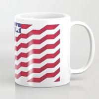 american flag Mugs featuring American Flag by Mychal Diaz