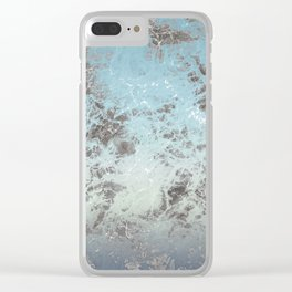 Blue gray abstract pattern Clear iPhone Case