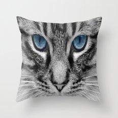 Charcoal Grey Kitty Throw Pillow