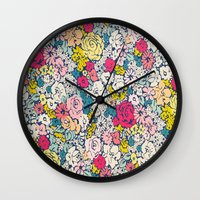 vintage flowers Wall Clocks featuring Vintage flowers by Love2Snap