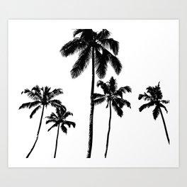 Monochrome tropical palms Art Print