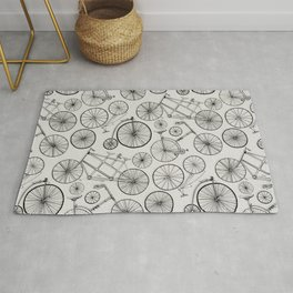 Monochrome Vintage Bicycles of Soft Grey Rug