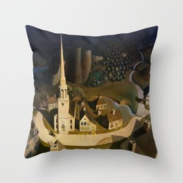 Grant Wood's The Midnight Ride of Paul Revere Throw Pillow