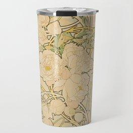 Alfons Mucha - Peonies (1897) Travel Mug