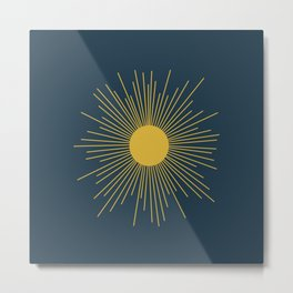 Mid-Century Modern Sunburst II in Light Mustard and Navy Blue Metal Print