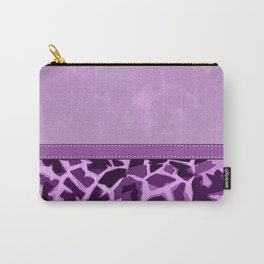Purple Lovers Giraffe Print and Digital Faux Leather Carry-All Pouch