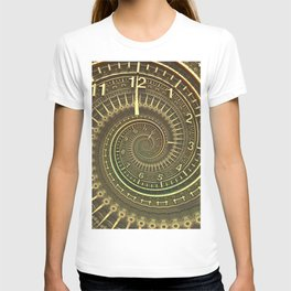 Bronze Metallic Ornate Spiral Time Machine T-shirt