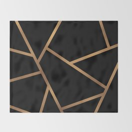 Black and Gold Fragments - Geometric Design Throw Blanket