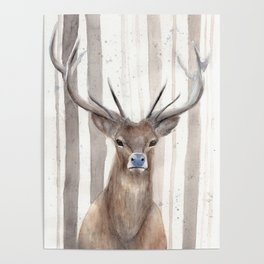 """Watercolor Painting of Picture """"Deer in Winter Forest"""" Poster"""